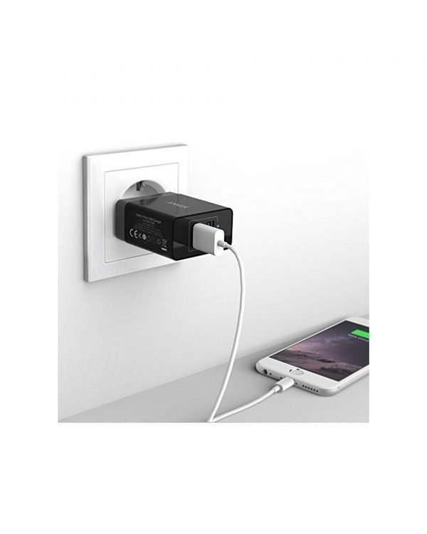 anker powerport 2 dual wall charger micro usb 3ft black b2021l11